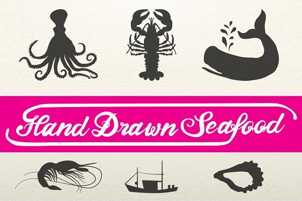 Hand Drawn Seafood + Nautical Logos