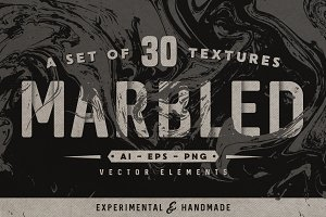 Set of 30 marbled vector textures