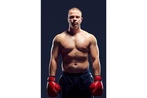 Muscular man - young caucasian boxer