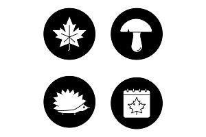 Autumn season glyph icons set