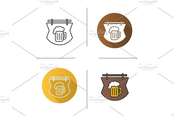 Wooden Bar Signboard Icon