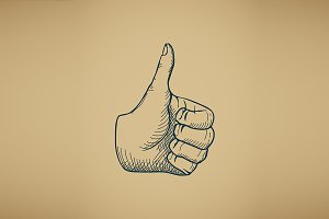 Hand draw sketch vintage thumbs up