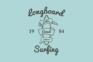 Longboard surfing typography t-shirt