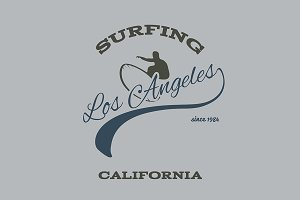 Surfing typography, t-shirt graphics