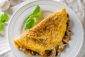 Rustic omelet with mushrooms