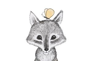 Illustration of cartoon animal. Portrait of cute little wolf cub with a butterfly sitting on his head