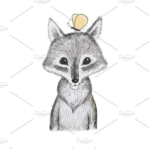 Illustration Of Cartoon Animal Portrait Of Cute Little Wolf Cub With A Butterfly Sitting On His Head