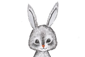 Portrait of hand-drawn cute cartoon grey hare holding a flower isolated on white background