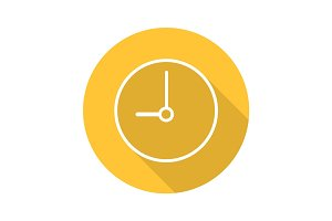 Clock flat linear long shadow icon