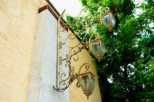 Horizontal city lamps background