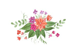 Watercolor floral composition of bright wild flowers and leaves