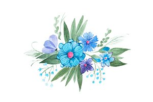 Watercolor illustration of floral composition made of blue wild flowers and leaves hand-drawn