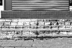 Horizontal black and white city stairs background