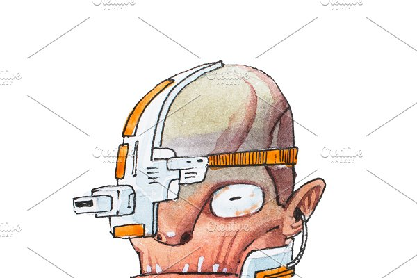 Hand-drawn head of humanoid robot with wrinkled skin and metal electric parts