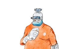 Watercolor illustration of cartoon cyborg or humanoid robot wearing orange prison jumpsuit uniform