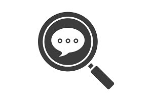Magnifying glass with chat box glyph icon