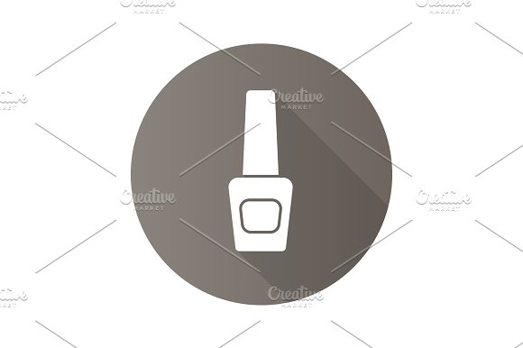 Nail Polish Bottle Flat Design Long Shadow Glyph Icon