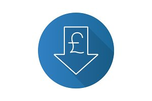 Pound rate falling flat linear long shadow icon