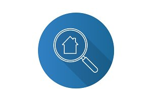 Real estate search flat linear long shadow icon