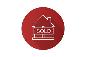 Sold house flat linear long shadow icon