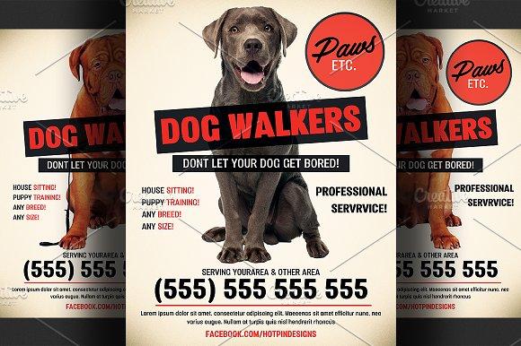Dog Walkers Flyer Template Flyer Templates Creative Market