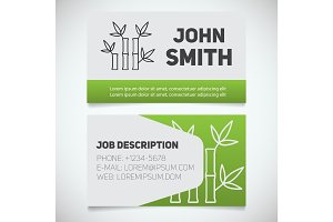 Business card print template with bamboo sticks logo