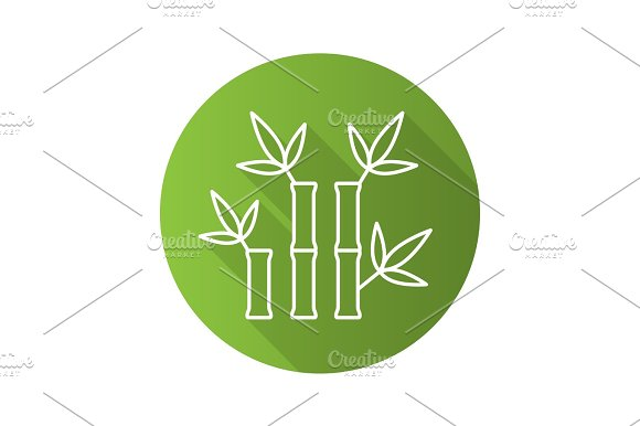 Bamboo Sticks For Massage Flat Linear Long Shadow Icon