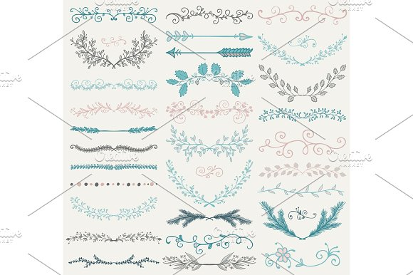 Vector Color Hand Drawn Dividers Branches Swirls