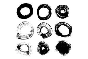 Circle Hand Drawn Set Isolated