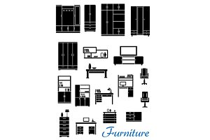 Black wooden furniture flat icons