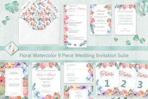 Floral Watercolor Wedding Suite