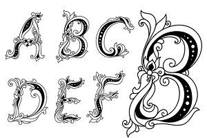 Floral font letters A, B, C, D, E, F
