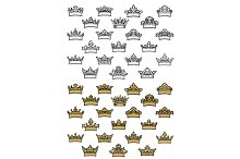 Antique crown vector icons