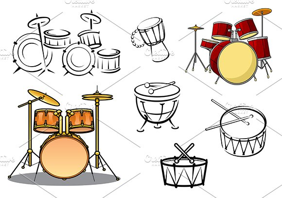 percussion instruments icons icons creative market