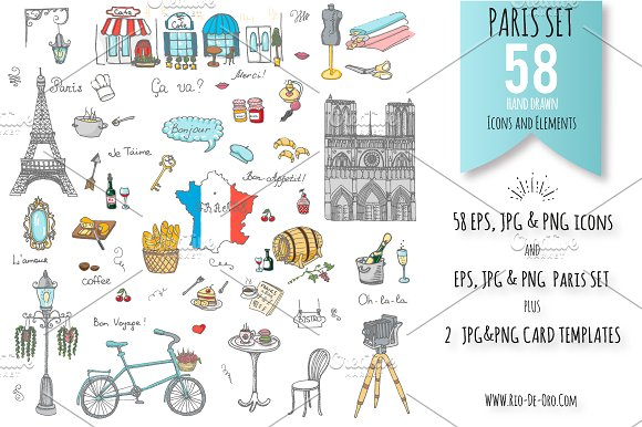 58 Paris Color Hand Drawn Icons