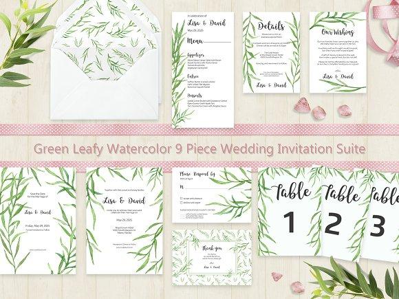 Green Leafy Watercolor Wedding Suite