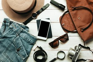 Top view accessories to travel