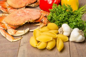 Ingredients with dungeness crab