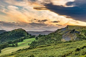 Clearing clouds at sunset over Llangollen panorama