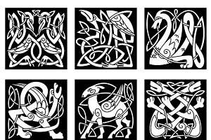 Celtic style animals on black