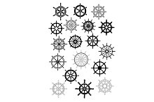 Ship wheel  and helms icon set