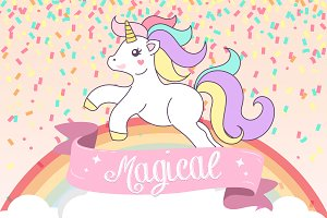 Unicorn Magical Birthday Vector