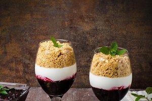 Inverted cheesecake dessert in glass