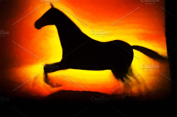 Running horse illustration background