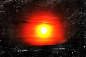 Horizon sunset vintage illustration background