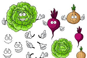 Cute cartoon cabbage, beet and onion