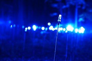 Horizontal blue lamp illumination bokeh background