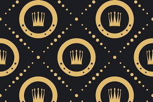 Crown golden pattern seamless