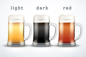 Vector Beer mugs with three brands.