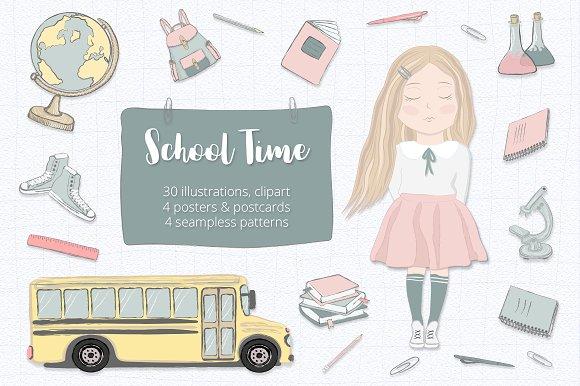 50% Off School Clipart Set